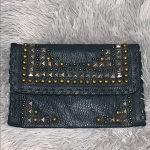 Grey/Blue studded clutch